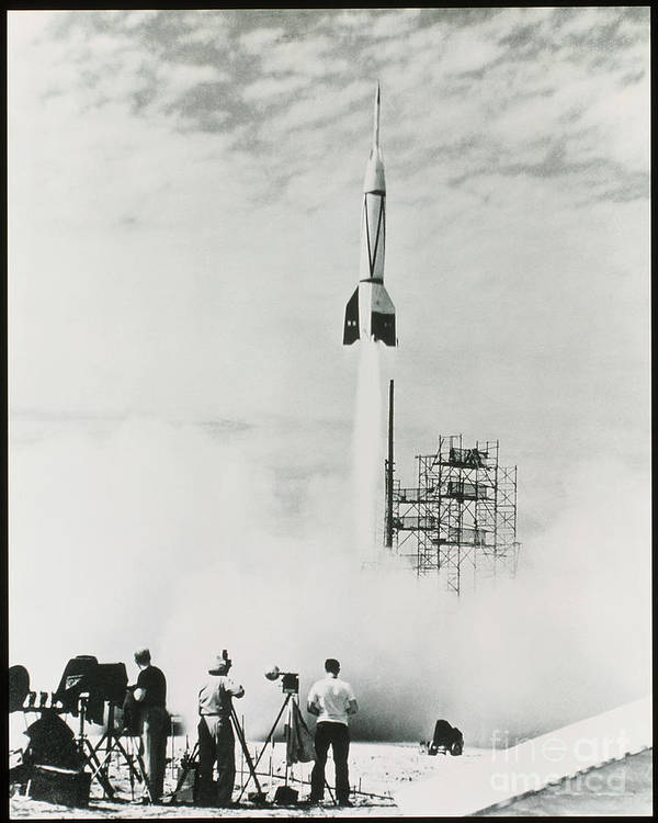V2 Rocket Print featuring the photograph First Cape Canaveral Rocket Launch by NASA Science Source