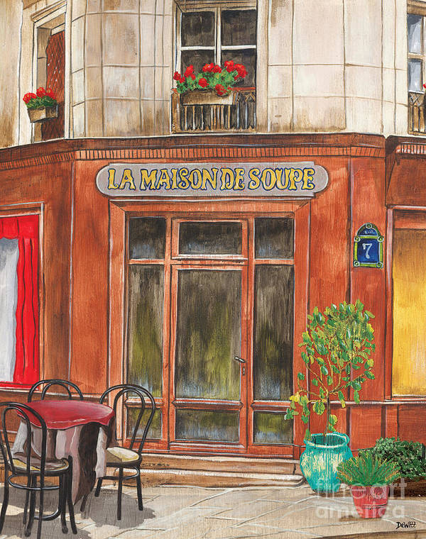 Restaurant Print featuring the painting French Storefront 1 by Debbie DeWitt