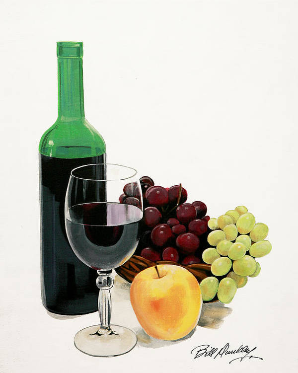 Still Life Painting Print featuring the painting Glass Half Full by Bill Dunkley