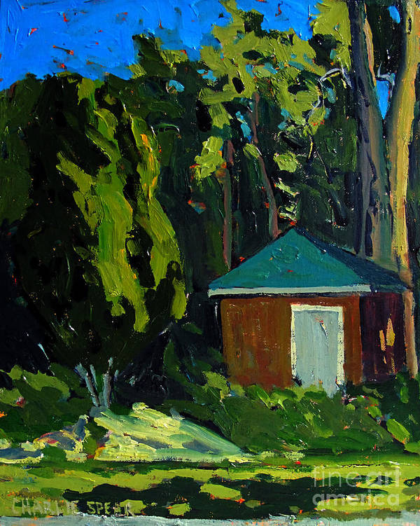 Golf Course Print featuring the painting Golf Course Shed Series No.19 by Charlie Spear