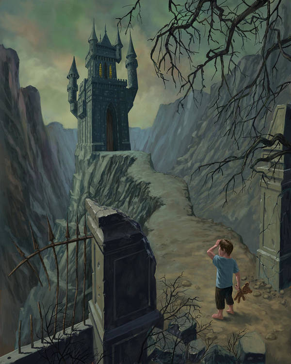 Castle Print featuring the painting Haunted Castle Nightmare by Martin Davey