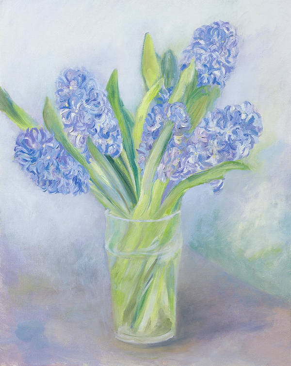 Still Lives Of Flowers Print featuring the painting Hyacinths by Sophia Elliot