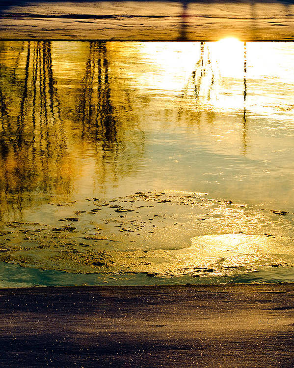 Abstract Print featuring the photograph Ice On The River by Bob Orsillo