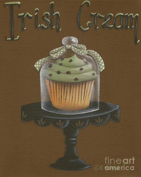 Art Print featuring the painting Irish Cream Cupcake by Catherine Holman