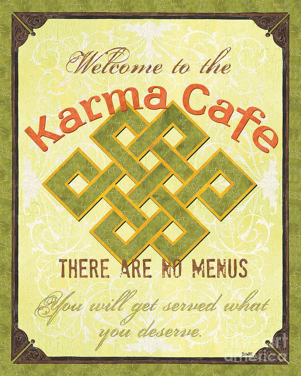 Karma Print featuring the painting Karma Cafe by Debbie DeWitt