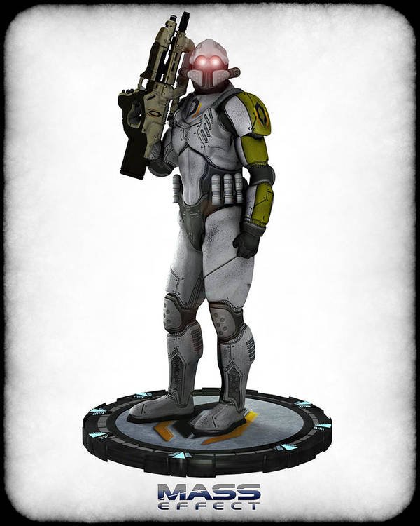 Game Print featuring the digital art Mass Effect - Cerberus Soldier by Frederico Borges
