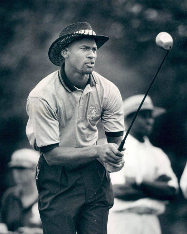 Classic Print featuring the photograph Michael Jordan Looks At Golf Shot by Retro Images Archive