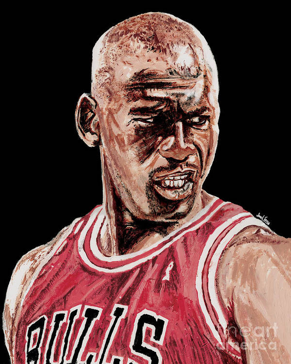 Michael Jordan Print featuring the painting Michael Jordan The Intimidator by Israel Torres