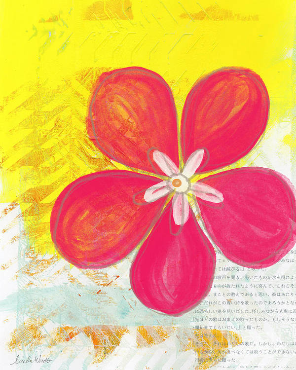Flower Print featuring the painting Pink Cherry Blossom by Linda Woods