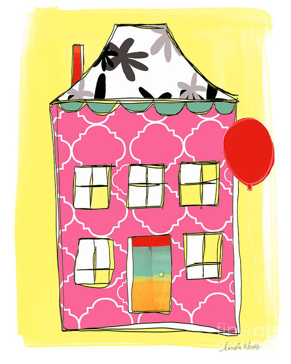 House Print featuring the painting Pink House by Linda Woods