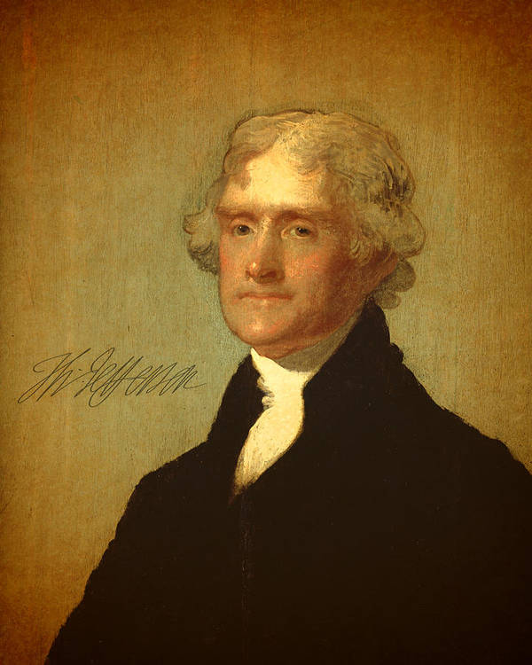 President Thomas Jefferson Portrait Signature Print featuring the mixed media President Thomas Jefferson Portrait And Signature by Design Turnpike