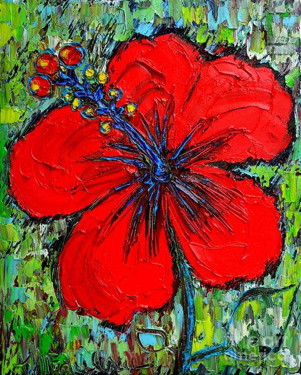 Hibiscus Print featuring the painting Red Hibiscus by Ana Maria Edulescu