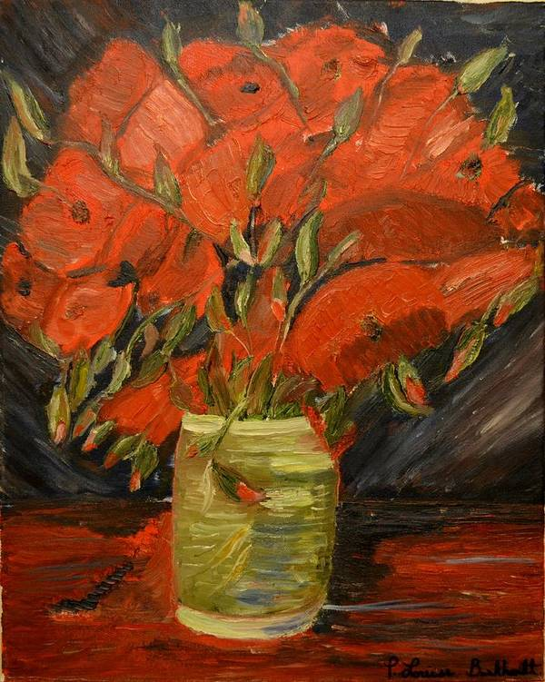 Flowers Print featuring the painting Red Velvet by Louise Burkhardt