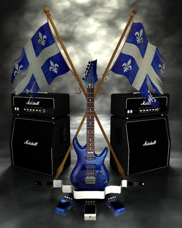 Rock N Roll Print featuring the digital art Rock N Roll Crest - Quebec by Frederico Borges
