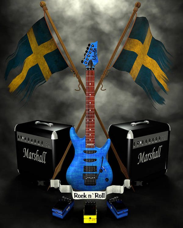 Rock N Roll Print featuring the digital art Rock N Roll Crest- Sweden by Frederico Borges