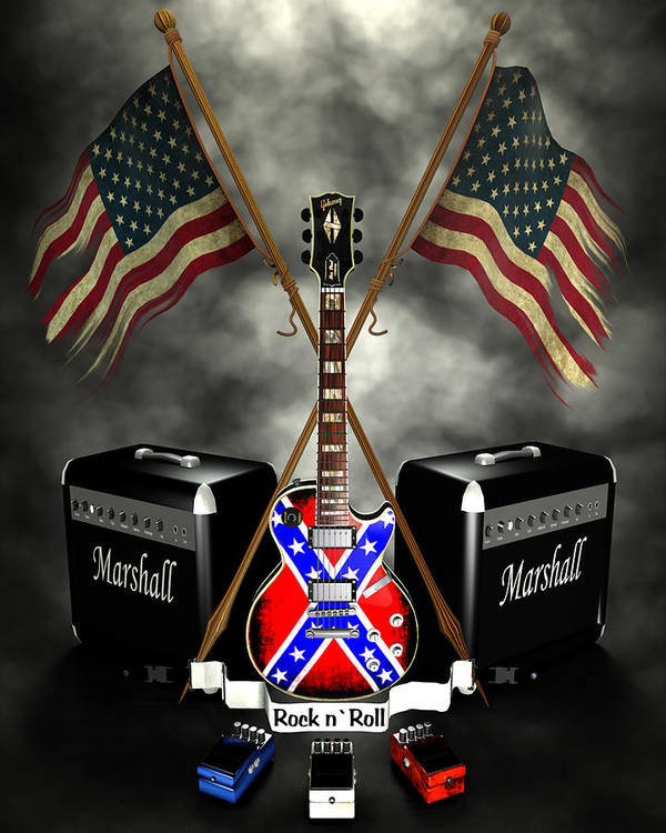 Usa Print featuring the digital art Rock N Roll Crest- Usa by Frederico Borges
