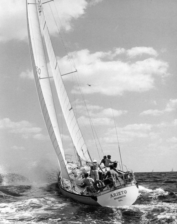 Retro Images Archive Print featuring the photograph Sailboat Charging The Waves by Retro Images Archive
