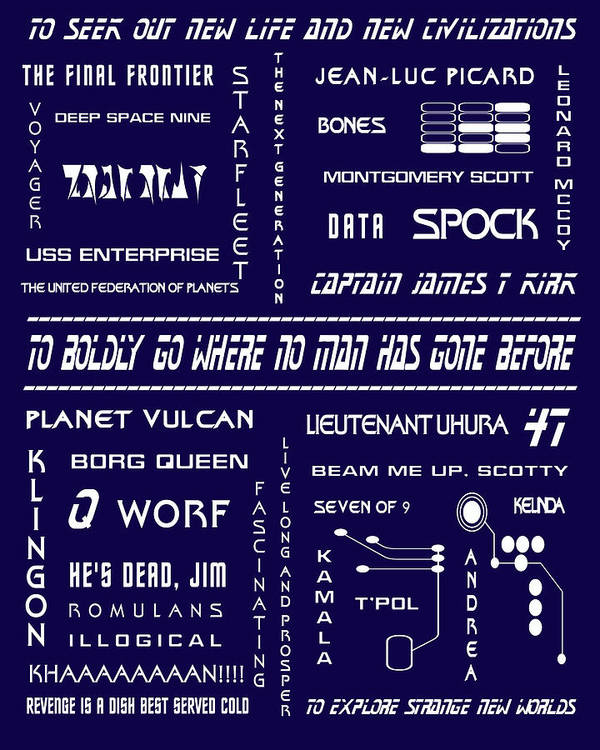 Star Trek Print featuring the digital art Star Trek Remembered In Navy Blue by Georgia Fowler