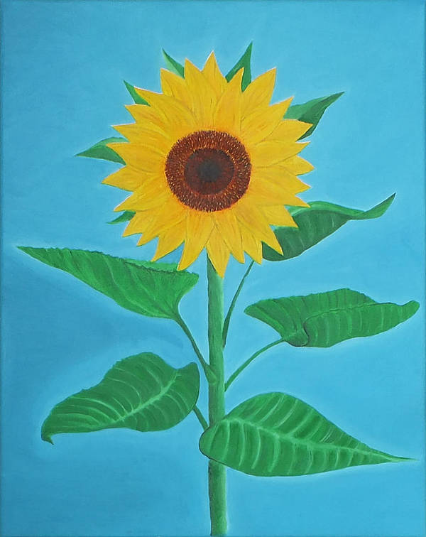 Sunflower Print featuring the painting Sunflower by Sven Fischer