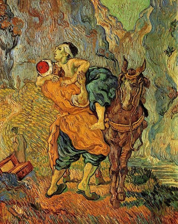 Vincent Print featuring the painting The Good Samaritan After Delacroix 1890 by Vincent Van Gogh