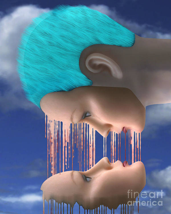 Surreal Digital Image Print featuring the digital art The Melding by Keith Dillon