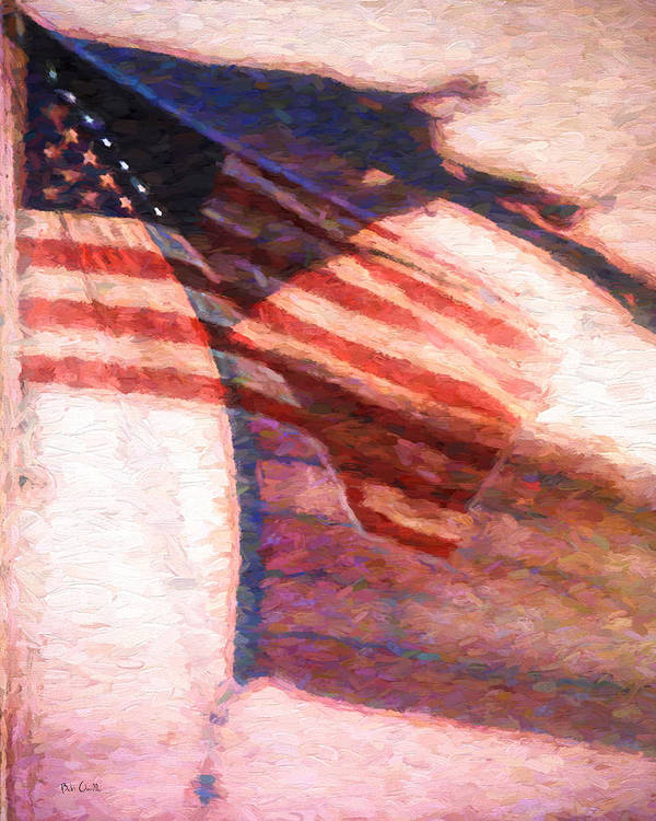 Flag Print featuring the painting Through War And Peace by Bob Orsillo