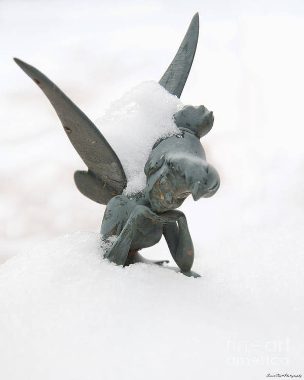 Tinker Bell Print featuring the photograph Tink In The Snow by Susan Cliett