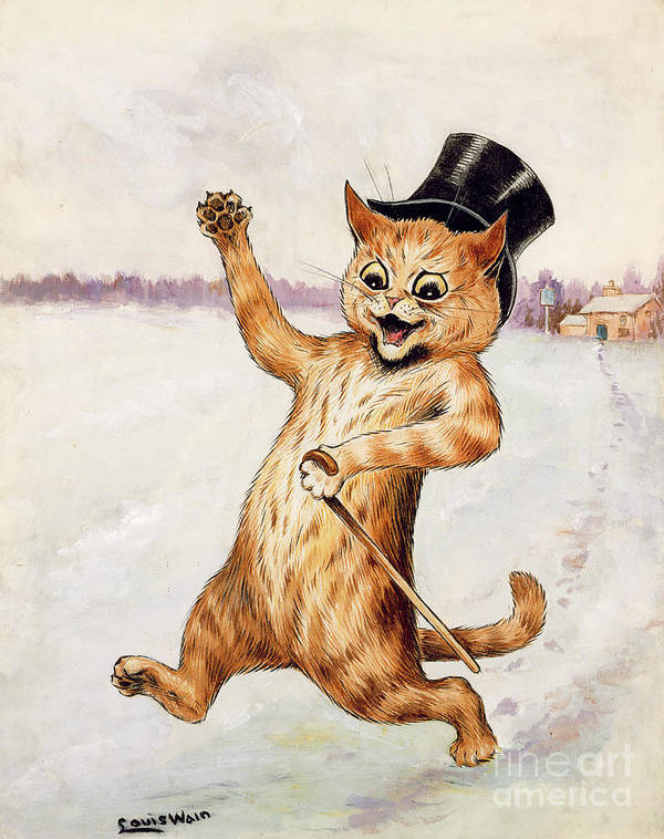 Frnk; Cat; Top Hat; Walking Stick; Foot Prints; Cartoon Print featuring the painting Top Cat by Louis Wain