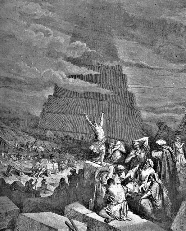 Tower Of Babel Print featuring the drawing Tower Of Babel Bible Illustration by