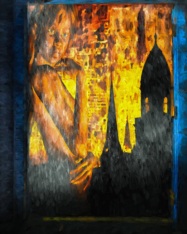 Woman Print featuring the painting Urban Sunset by Bob Orsillo
