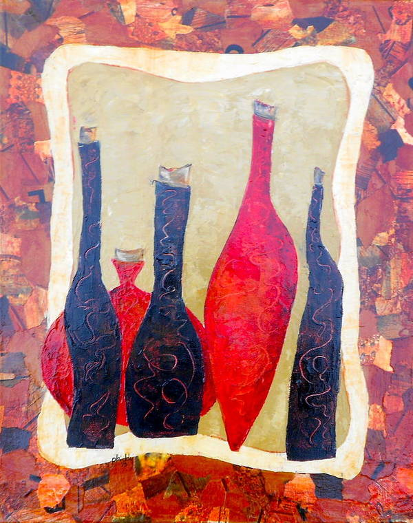 Bottles Print featuring the painting Vino 1 by Phiddy Webb