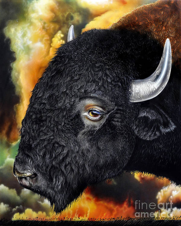 Bison Print featuring the painting Weathering Storm by Jurek Zamoyski