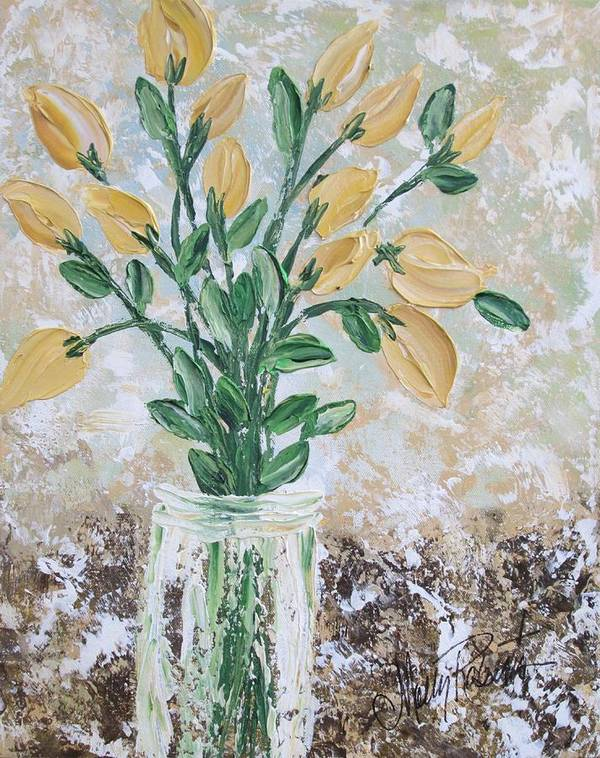 Flowers Print featuring the painting Yellow Bouquet by Molly Roberts