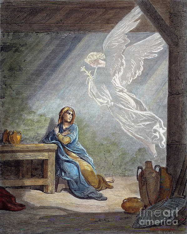 19th Century Print featuring the photograph DorÉ: The Annunciation by Granger