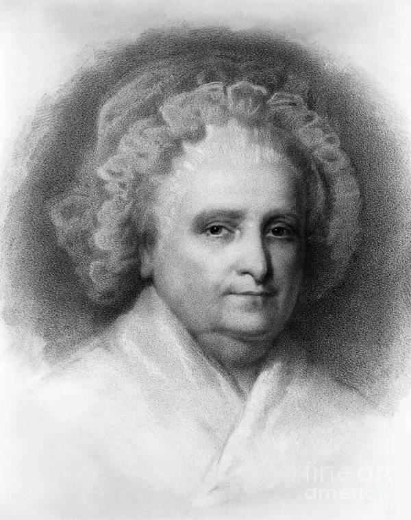 History Print featuring the photograph Martha Washington, American Patriot by Photo Researchers
