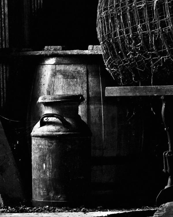 Antique Print featuring the photograph Barrel In The Barn by Jim Finch