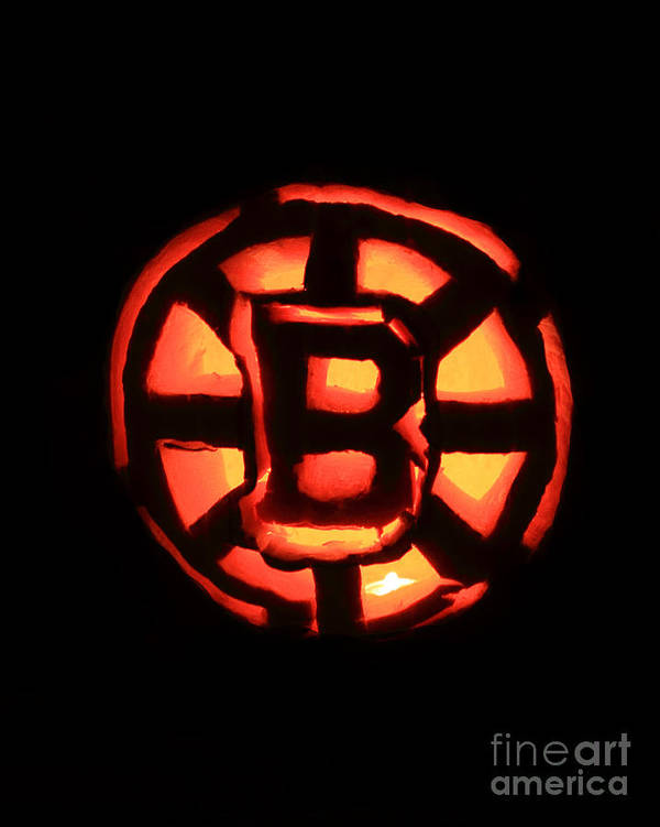 Bruins Print featuring the photograph Bruins Carved Pumpkin by Lloyd Alexander