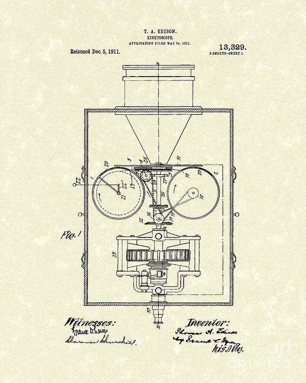 Edison Print featuring the drawing Edison Kinetoscope 1911 I Patent Art by Prior Art Design