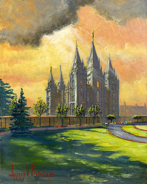 Salt Lake Temple Print featuring the painting Evening Splendor by Jeff Brimley