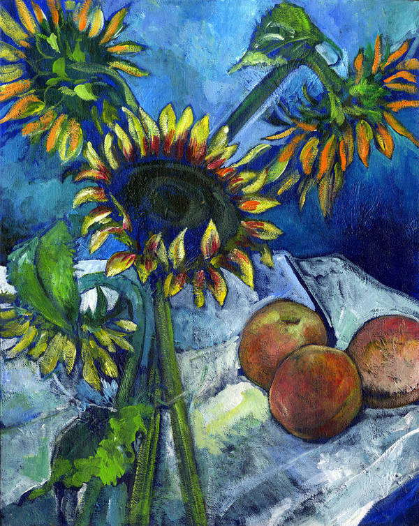 Sunflowers Print featuring the painting From The Farmer's Market by Carol Mangano