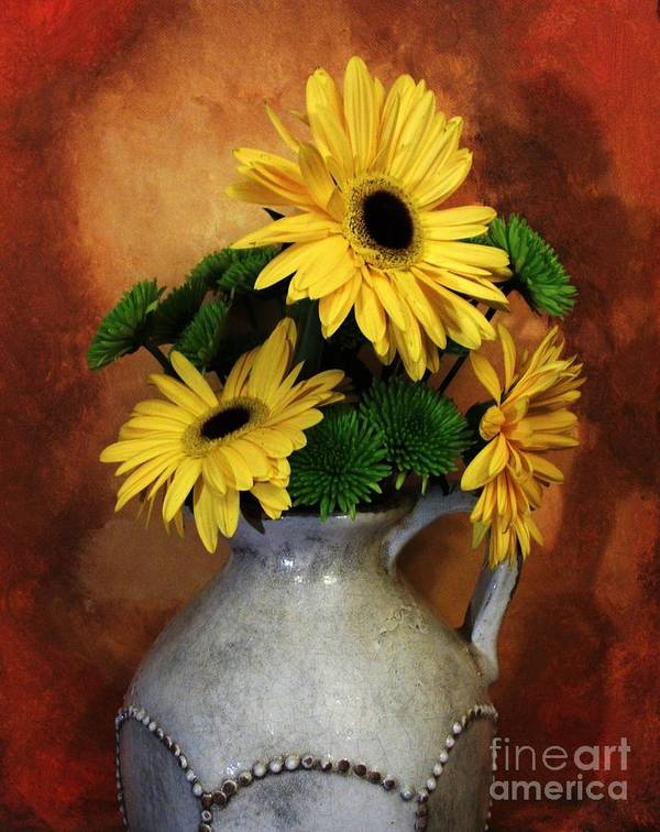 Photo Print featuring the photograph Gerber Yellow Daisies by Marsha Heiken