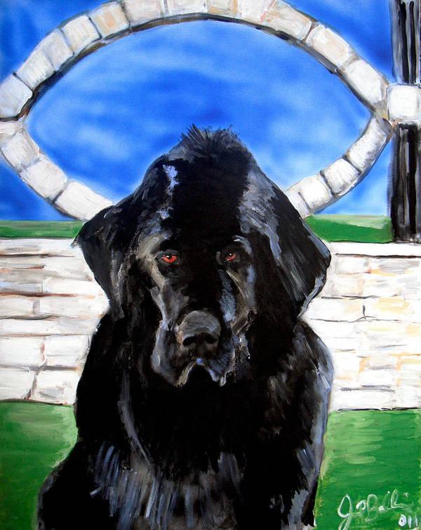 Dog Print featuring the painting Newfoundland by Jon Baldwin Art