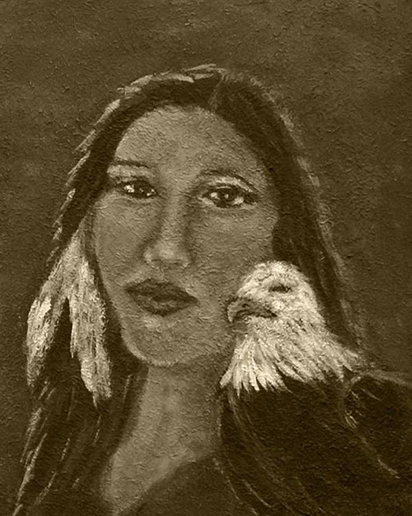 Native American Print featuring the painting Onawa Native American Woman Of Wisdom With Eagle In Sepia by The Art With A Heart By Charlotte Phillips