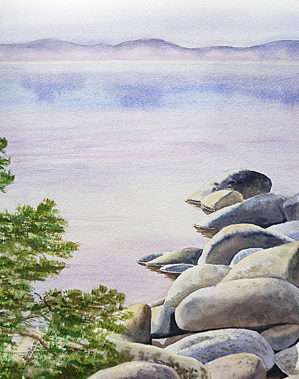 Affirmation Print featuring the painting Peaceful Place Morning At The Lake by Irina Sztukowski
