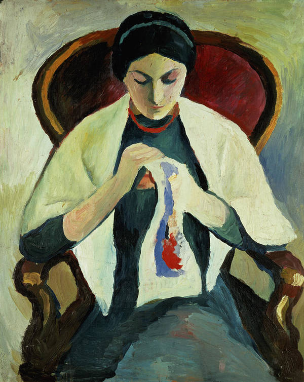 Woman Sewing By August Macke (1887-1914) Armchair; Portrait; Female Print featuring the painting Woman Sewing by August Macke