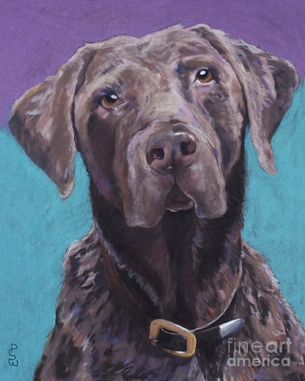 Pet Portrait Commissions Print featuring the painting 100 Lbs. Of Chocolate Love by Pat Saunders-White