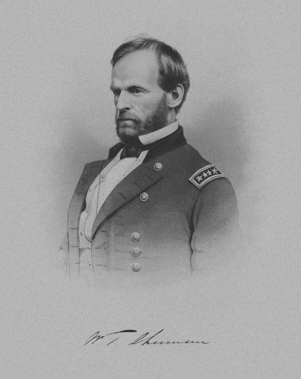 William Sherman Print featuring the drawing General William Tecumseh Sherman by War Is Hell Store