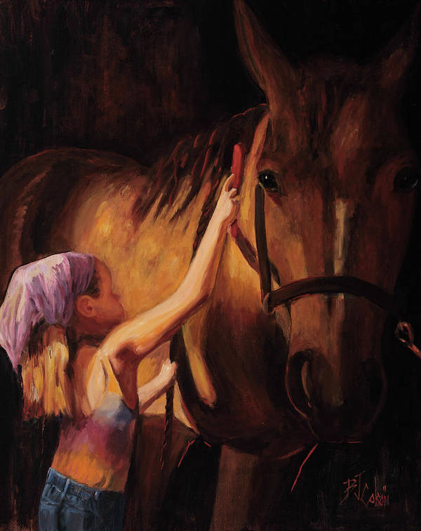 Young Girl With Horse Print featuring the painting A Girls First Love by Billie Colson
