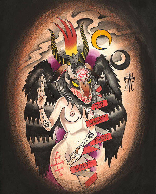 Baphomet Print featuring the painting Baphomet by Kate Collins