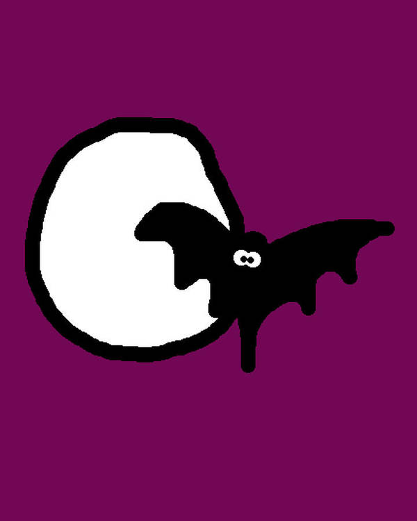 Bat Print featuring the digital art Bat N Moon by Jera Sky